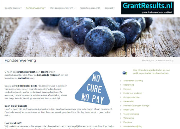 No cure No pay fondsenwerving voor goede doelen en maatschappelijke organisaties